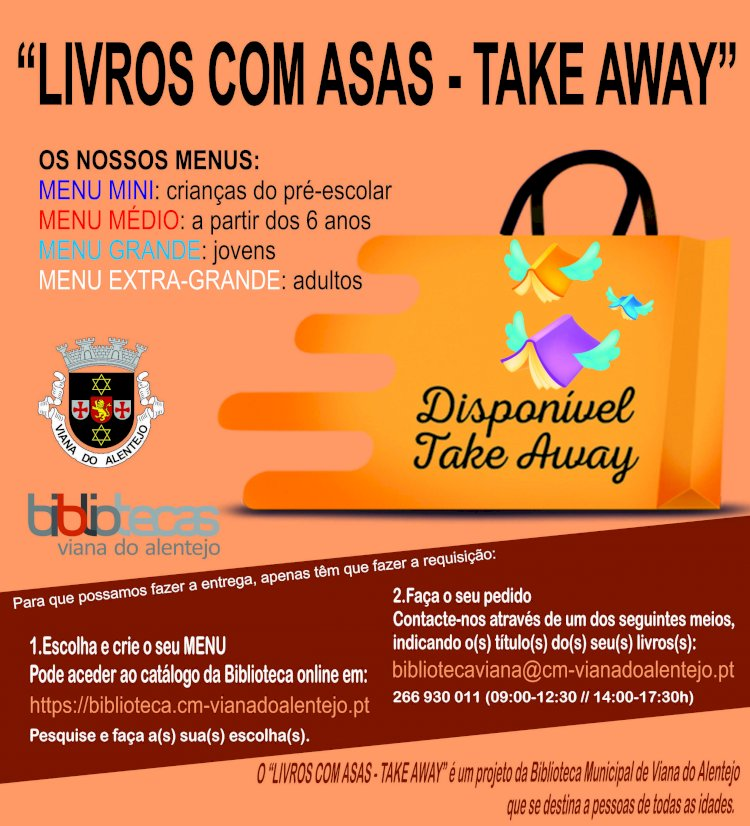 """""""Livros com Asas – Take-away"""" em Viana do Alentejo"""